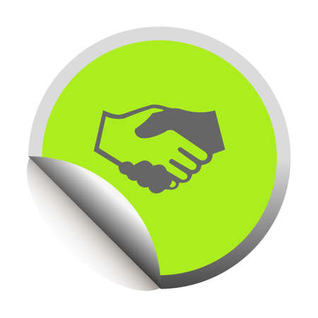 Handshake black icon in sticker  Vector illustration