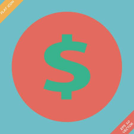 us dollar: us dollar green circle web icon  flat