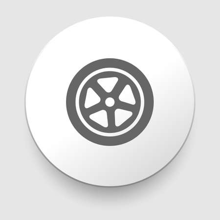 low tire: Auto wheel tire Vector icon isolated on white