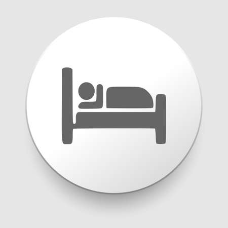 Man sleeping in bed at Motel - Vector icon isolated  Vector
