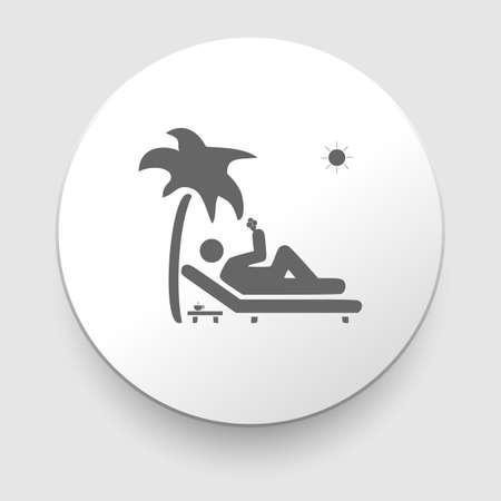 Vector illustratie pictogram toont een man ontspannen op het liggen onder een palmboom