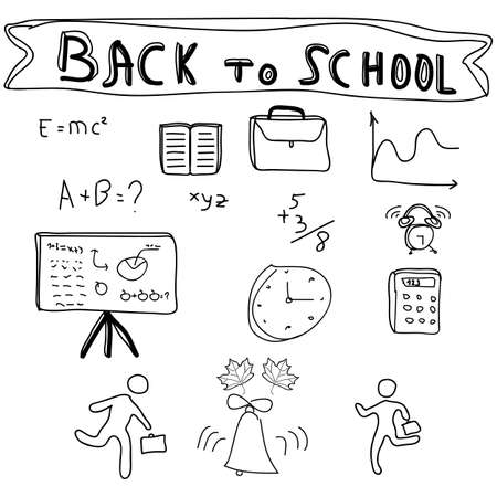 Back to School Supplies Sketchy Doodles with Lettering, Vector Illustration Design Elements Vector