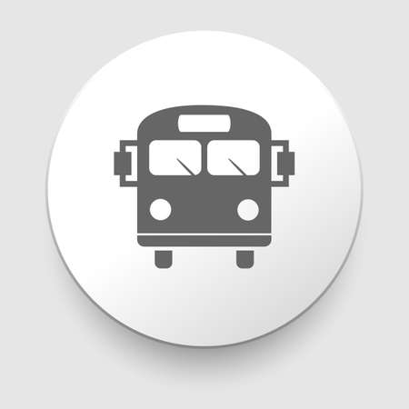back view student: School Bus Icon with Color Variations on white Illustration