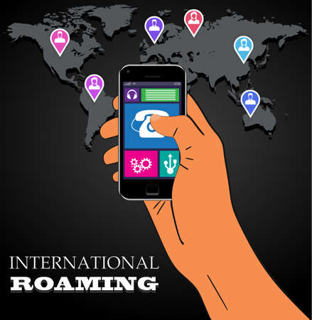 Mobile phone international roaming.  Illustration