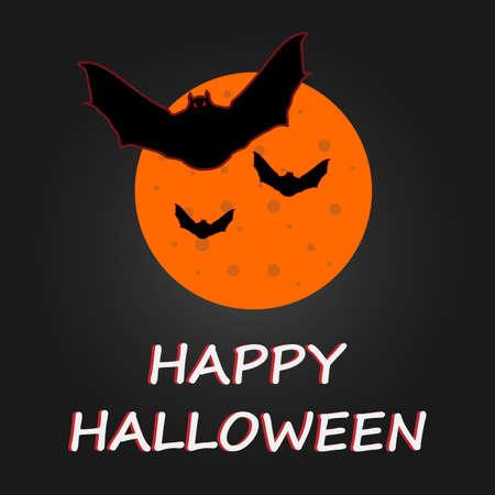 Halloween bat to moon poster. Vector