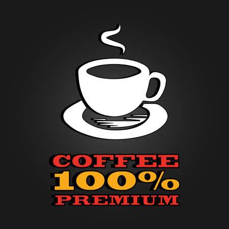 coffee mug: premium coffee cup label concept menu. poster.