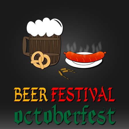 Oktoberfest greeting card. Poster with mug of beer, hops pretzels sausages beer foam Vector
