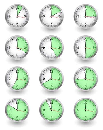 Twelve clocks showing different time on white. Vector illustration Illustration