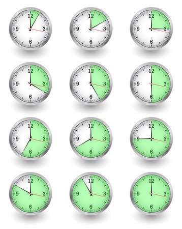 Twelve clocks showing different time on white. Vector illustration Illustration