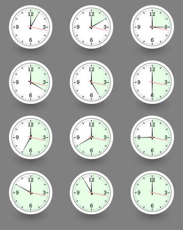 morning noon and night: Twelve clocks showing different time. Vector illustration