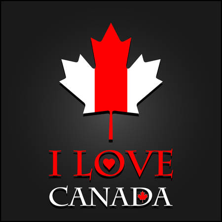 I love Canada sign and labels on maple leaf flag, vector illustration Vector