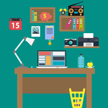 Office workstation with notebook lamp and recorder.  Vector