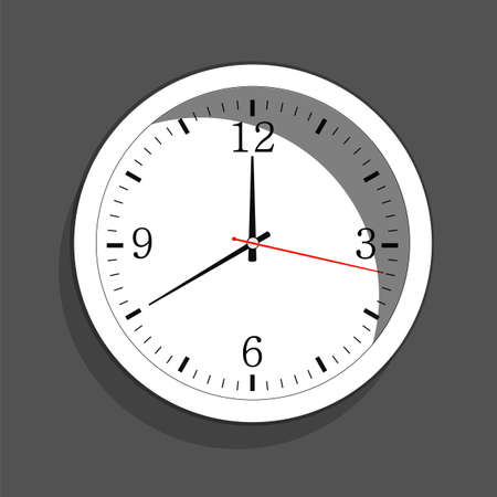 Icon of white clock with shadow.