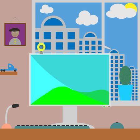 Flat illustration workspace.  Vector