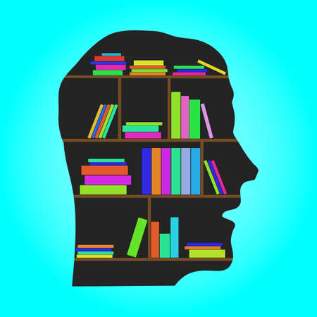 Head Library - flat concept vector illustration. EPS10 Vector