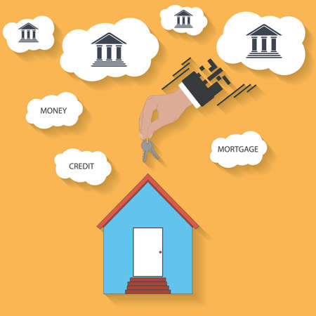 house keys in hand - mortgage concept. Vector Vector