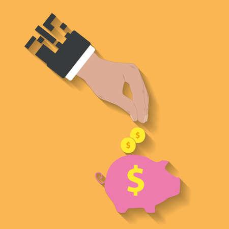 business hand: business hand saving money in piggy bank.