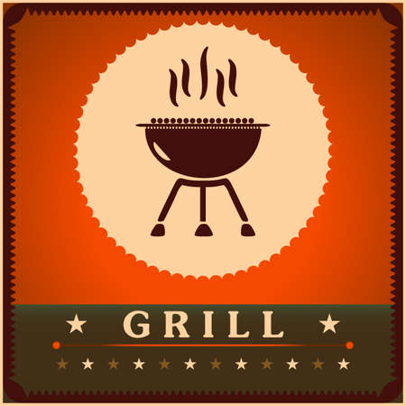 Retro Grill Menu Card Design template poster.