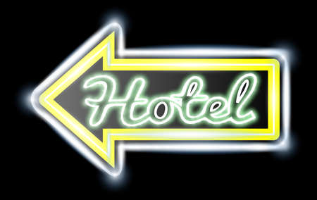 Retro American neon motel roadsign. Light bulbs on the outer frame. Arrow shape. EPS10 vector image.