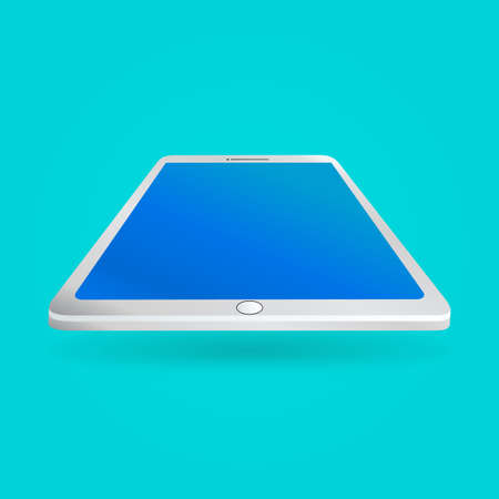 digitized: White tablet with empty screen isolated on blue background. Perspective view. Vector illustration EPS10