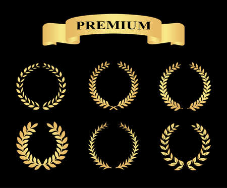 foliate: Set of golden silhouette circular laurel foliate and wheat wreaths depicting an award achievement heraldry nobility and the classics with banners vector illustration eps10 Illustration