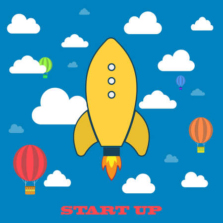 Yellow rocket and white cloud, icon in flat style isolated on blue background, conceptual of start up new business project, take off of a business or project or extraterrestrial travel vector illustration Vector