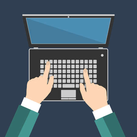 laptop screen: Businessman hand on laptop keyboard with blank screen monitor, Flat vector illustration, EPS10