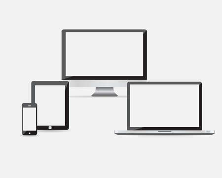 High quality vector illustration set of modern technology devices - computer monitor, laptop, digital tablet and mobile phone with blank screen. Isolated on white background. EPS10 Ilustração