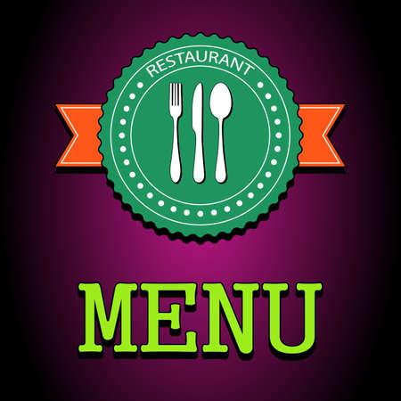 main dishes: Ilustraci�n vectorial tarjeta. Restaurante etiqueta de men� con el icono de los cubiertos - cuchillo, cuchara, tenedor. EPS10