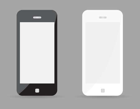Two realistic smartphone concept - black and white. Highly detailed responsive realistic smart phone mockup isolated on gray background. Vector illustration EPS10 Vector