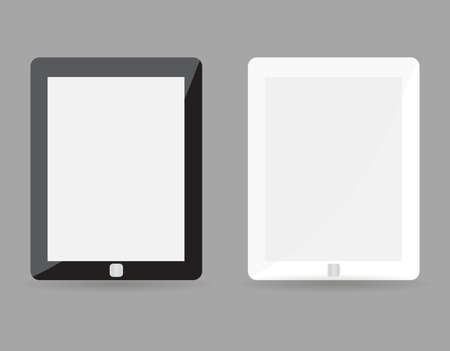 Two realistic tablet pc concept - black and white with blank screen. Highly detailed responsive realistic small tablet mockup isolated on gray background. Vector illustration EPS10 Vector