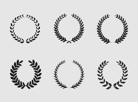 rama de olivo: Adornos her�ldicos en el fondo blanco. Conjunto de silueta circular foliadas laurel blanco y negro y las guirnaldas de trigo que representan un her�ldica nobleza logro premio y la ilustraci�n vectorial cl�sicos