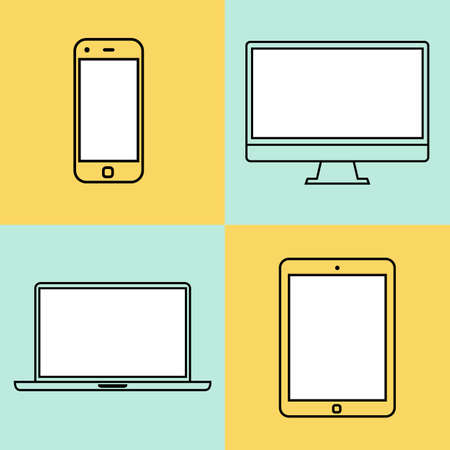 mobile phone: laptop, tablet computer, monitor and smartphone flat design template elements for web and mobile applications. vector illustration eps10