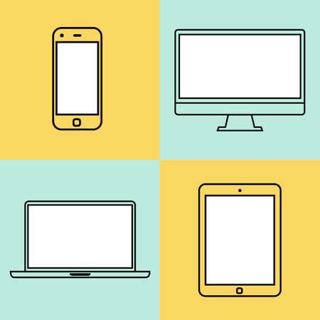 ordenador portátil, tablet PC, monitor y elementos de plantilla de diseño planos de teléfonos inteligentes para aplicaciones web y móviles. eps10 ilustración vectorial