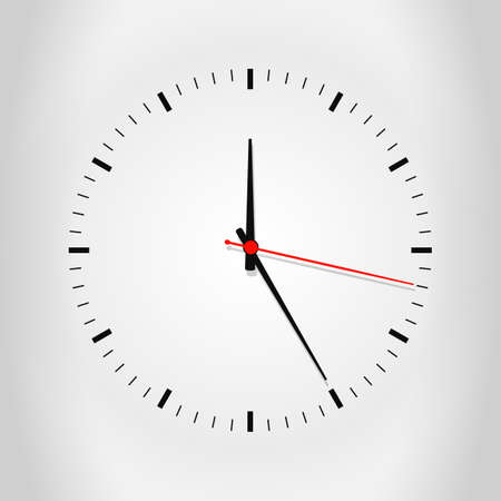 Clock face with shadow on white background. Vector illustration EPS10