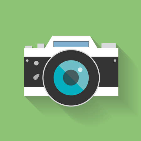 camera: Retro Camera flat icon vector illustration for web design and mobile app isolated on green background.