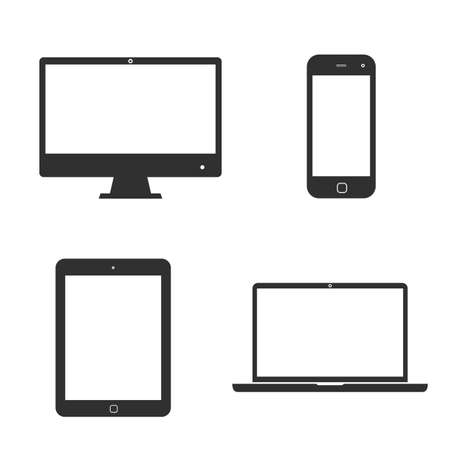 Set of icons electronic devices with white blank screens. smartphone, tablet, computer monitor and laptop.