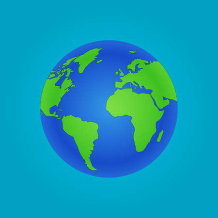 Isolated Globe icon and green map of the continents of the world.
