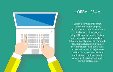 Businessman working at a white laptop. Hand on notebook keyboard with blank screen monitor. Flat design concept with copy space.  일러스트