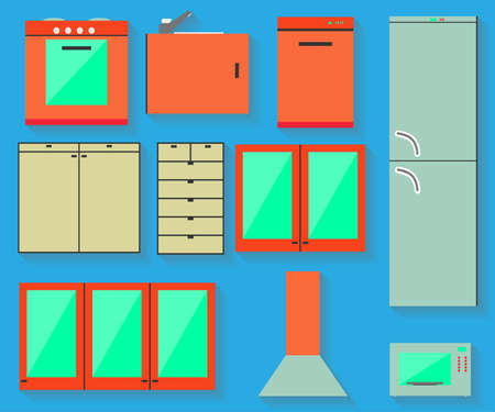 Accessories of kitchen design. Isolated icon with shadow.  Vector