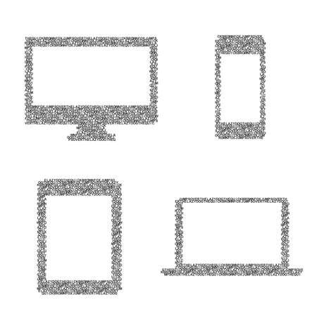 digitized: Compuesto por los s�mbolos del moderno dispositivo electr�nico - PC, tableta, ordenador port�til, tel�fono inteligente.