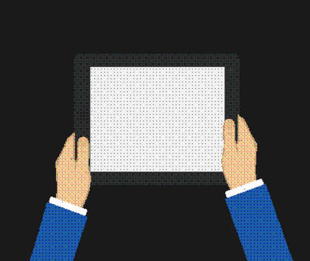 e reader: Business man holds holding tablet computer with white blank screen. Using digital tablet pc. Flat design concept composed of the dots.  Illustration