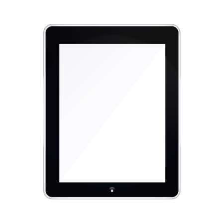 Black Tablet mockup Isolated On White with blank screen.  Vector
