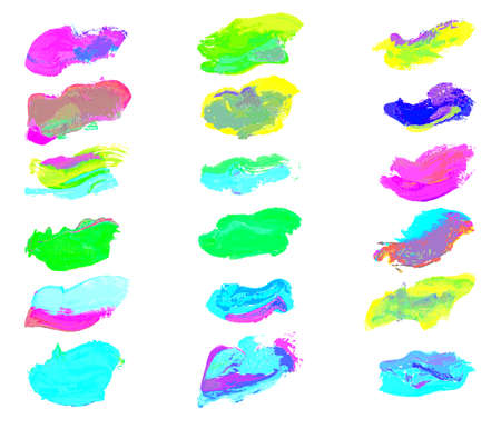 watercolor smear: eighteen colorful watercolor smear paint isolated on white background.