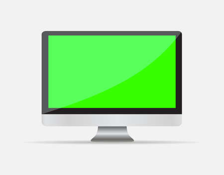 liquid crystal display: Realistic Empty computer display with green blank screen isolated on white background. Vector illustration EPS10