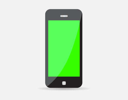 isolates: Realistic black mobile phone with green blank screen isolated on white background. Vector illustration EPS10 Illustration