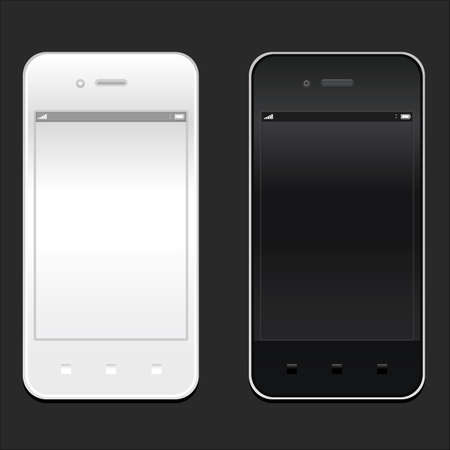 White and black smartphone realistic mockup. Model phone Isolated. Can use for frame or background printing and website. Vector illustration EPS10 Vector