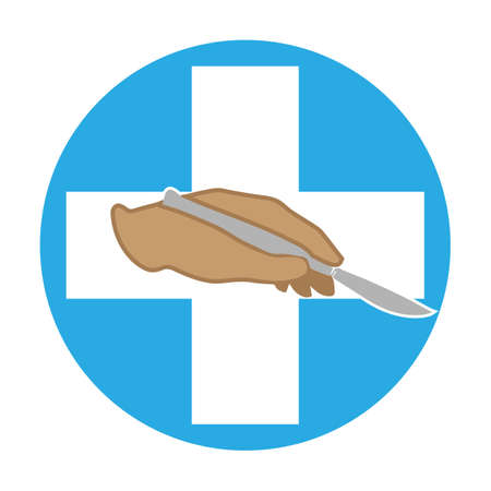 The hand holds a scalpel.  Vector