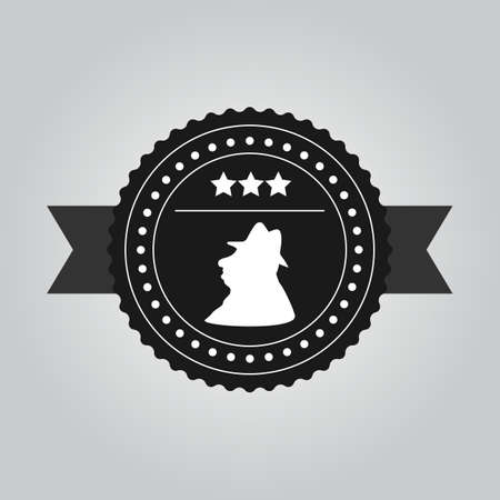 competent: VIntage black icon design a man in a hat template suitable for business that wants to be represented as experienced and competent.