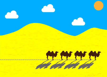 walking trail: Flat camels going through the desert, the sun leaving traces.